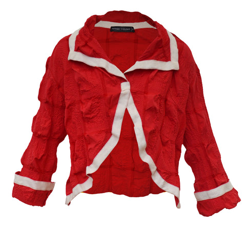 Tiffany Treloar Cotton Seersucker Jacket Red Front