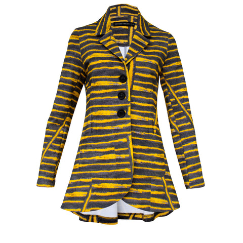 Tiffany Treloar Canary Stripe Cotton Jacket Front