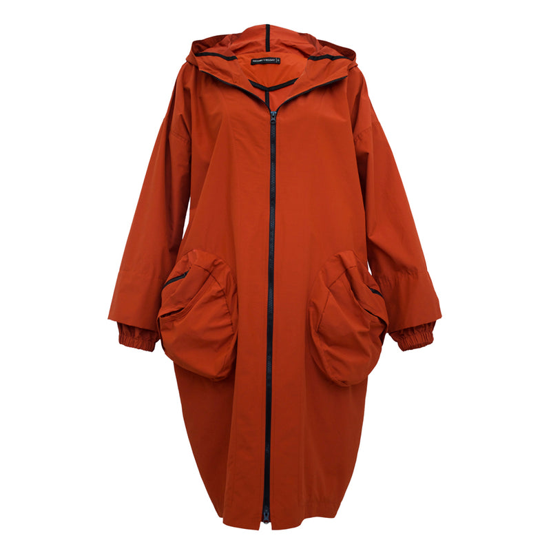 Tiffany Treloar Singing in the Rain Coat Terracotta Front