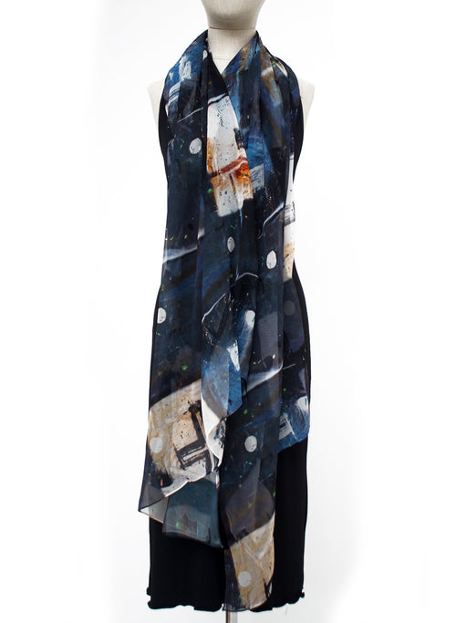Tiffany Treloar, Long Print Silk Georgette Scarf Crossfire - Tiffany Treloar