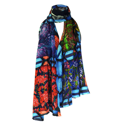 Long Print Silk Scarf Bouquet