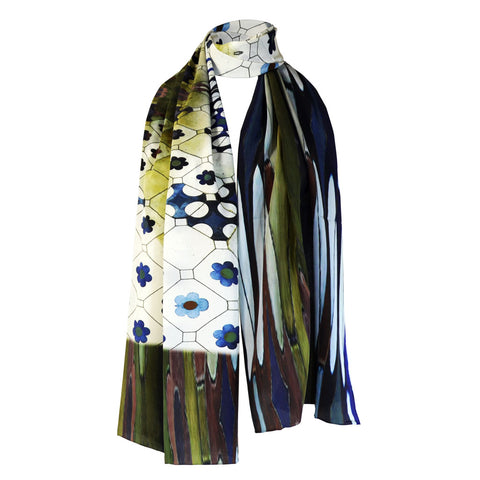 Long Print Silk Scarf Cassa