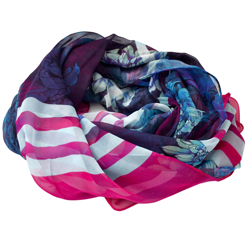 Tiffany Treloar, Long Print Silk Georgette Scarf Blue Dahlia - Tiffany Treloar