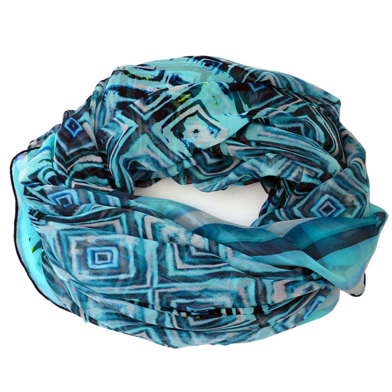Tiffany Treloar, Long Print Silk Georgette Scarf Blue Diamond - Tiffany Treloar