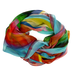 Tiffany Treloar Long Print Silk Georgette Scarf Rainbow