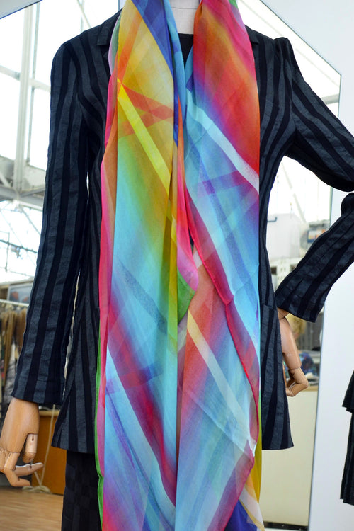 Tiffany Treloar, Long Print Silk Georgette Scarf Rainbow - Tiffany Treloar
