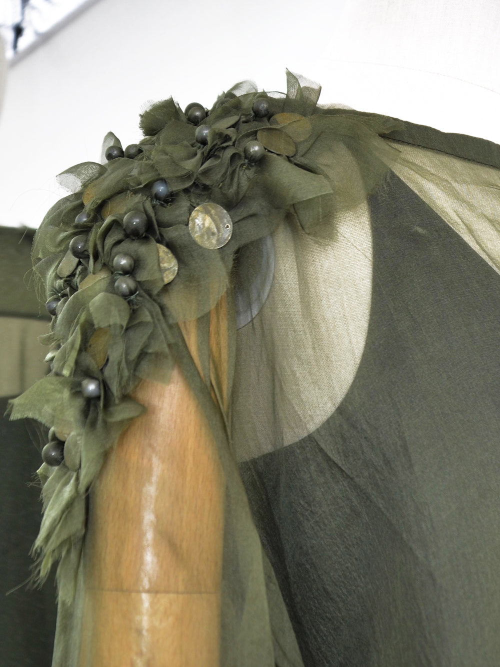 Akira Draped Embellished Silk Dress Dark Olive Detai
