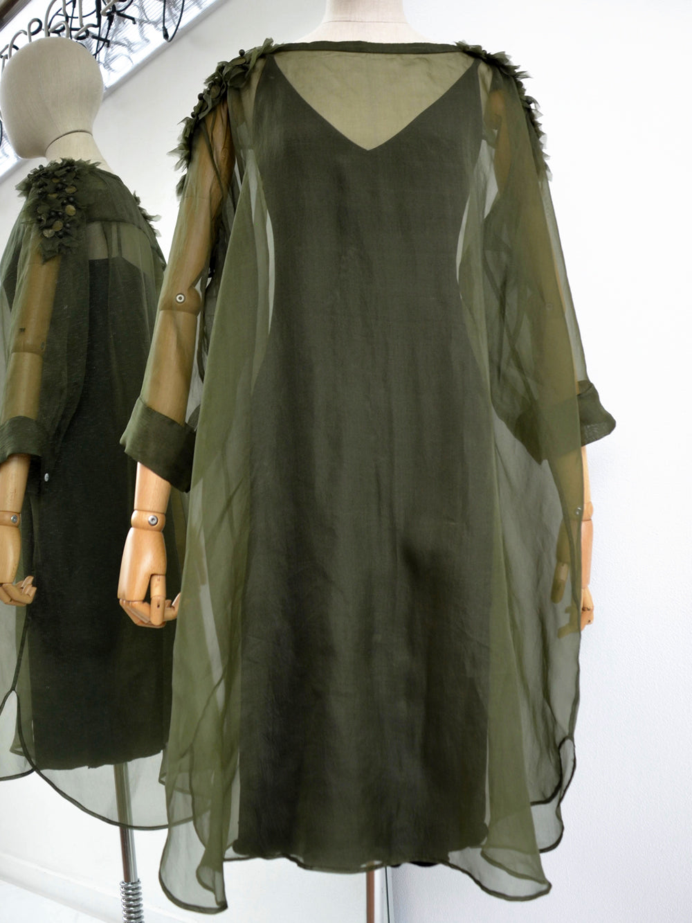 Akira Draped Embellished Silk Dress Dark Olive