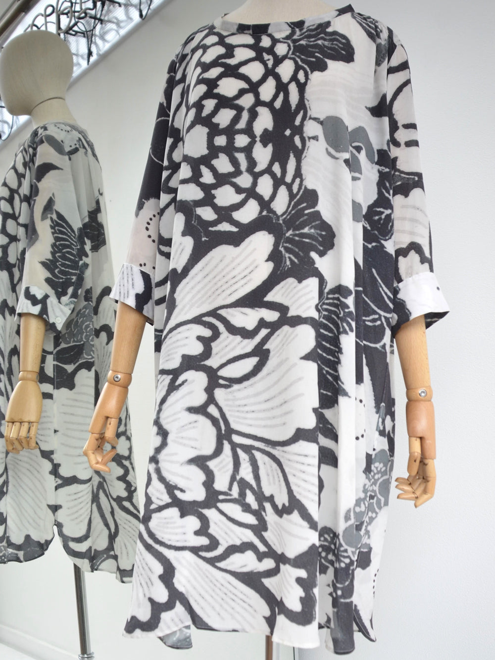 Akira Draped Silk Dress Floral Print 212