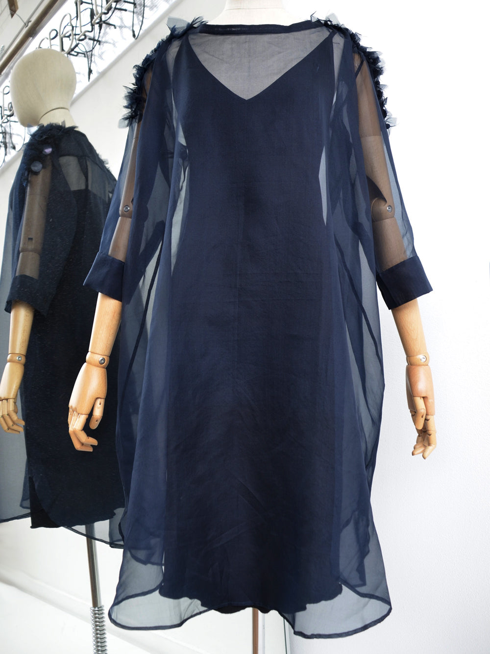 Akira Draped Embellished Silk Dress Ink
