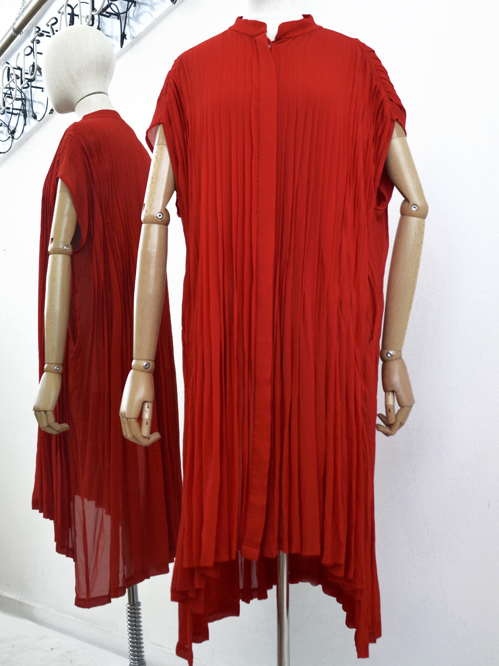 Akira Pleated Tunic Blouse Red 256/A74115