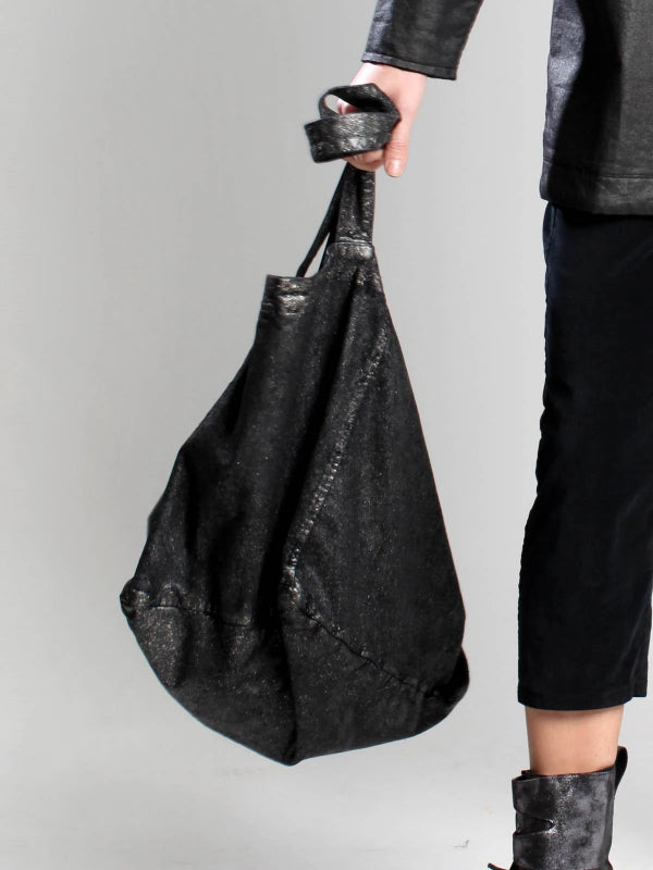 Lurdes Bergada Black Oversized Coated Cotton Bag M19-601