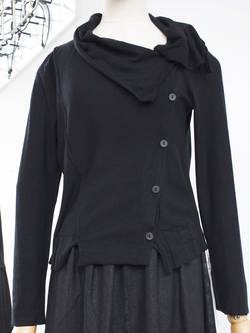 Lurdes Bergada Knitted Buttoned Cardigan Black LB M19-912