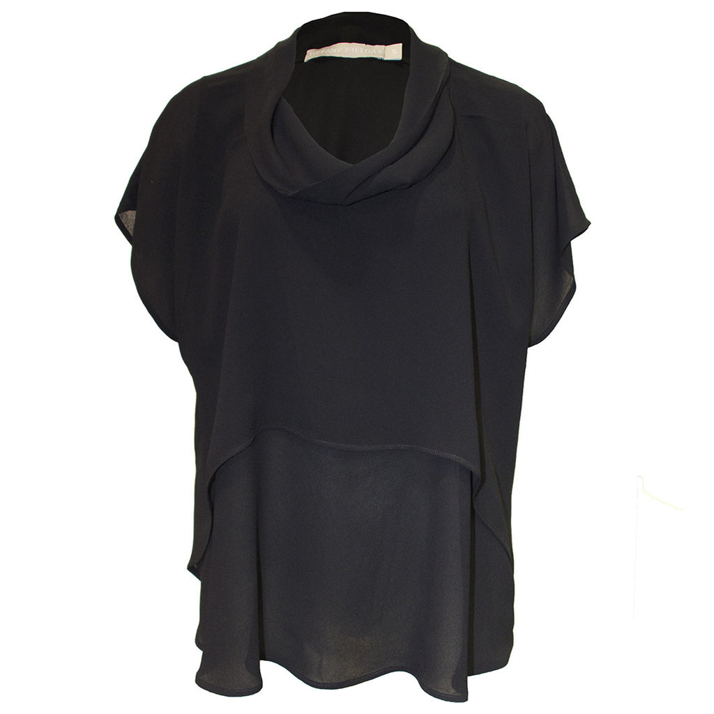 Scoop Cowl Neck Top Black