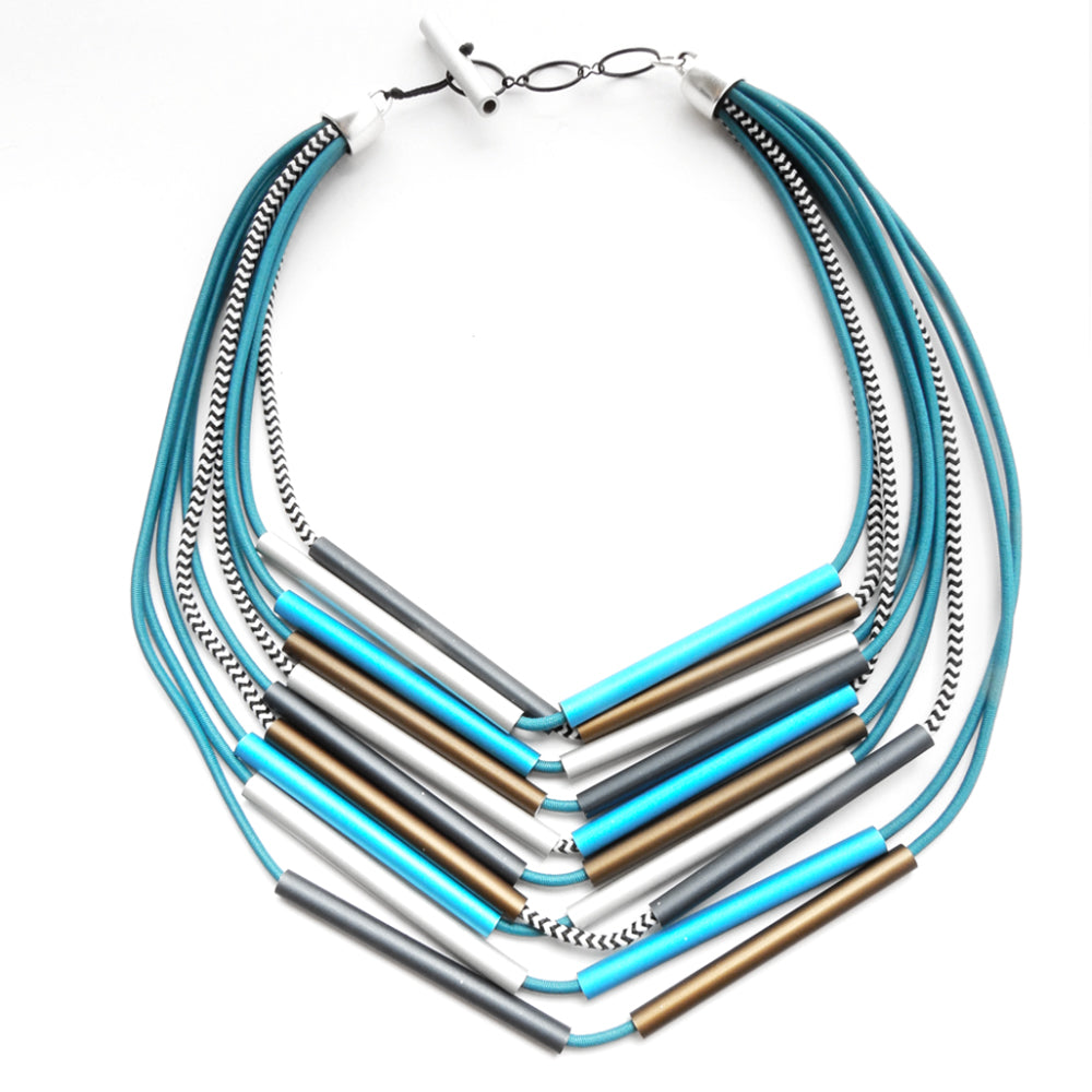 CB139 Thin Tube Necklace Blue