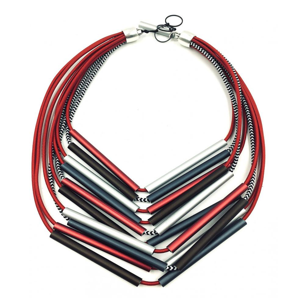 Christina Brampti CB139 Thin Tube Necklace Red/Grey