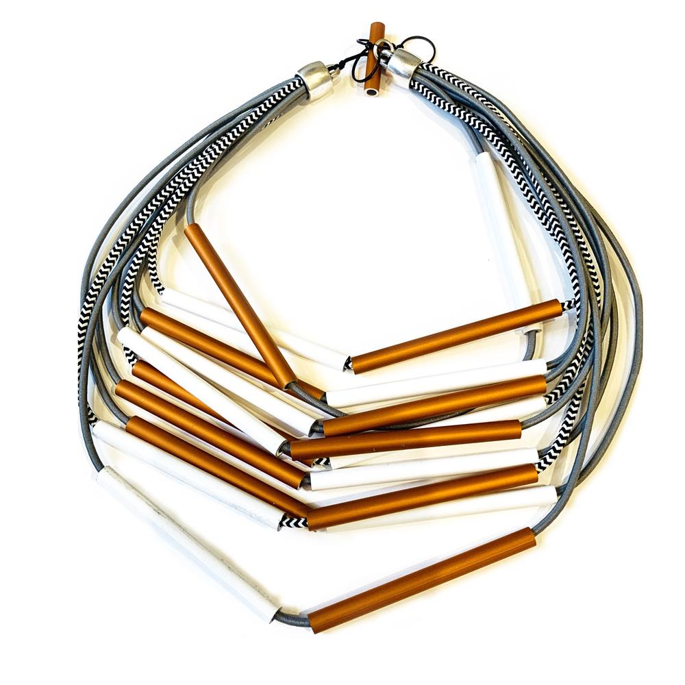 Christina Brampti CB139 Thin Tube Necklace Orange/White