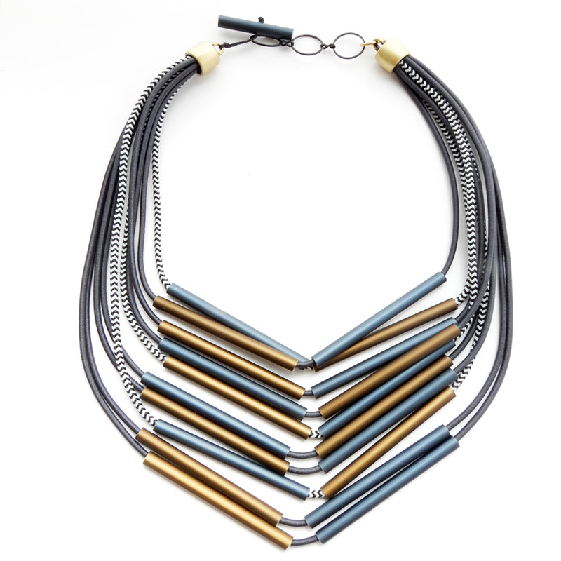 CB139 Thin Tube Necklace Bronze