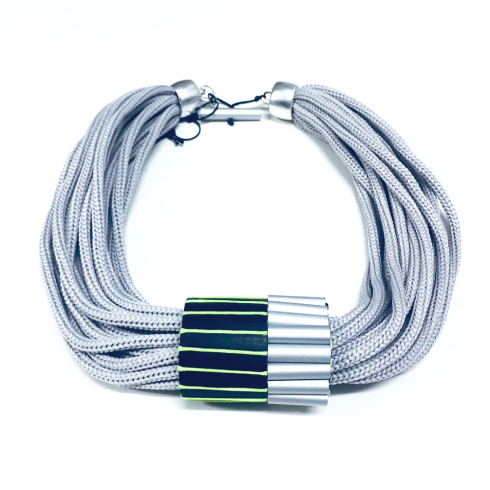 CB162 Multiple Aluminium Barrel Cord Necklace Lime