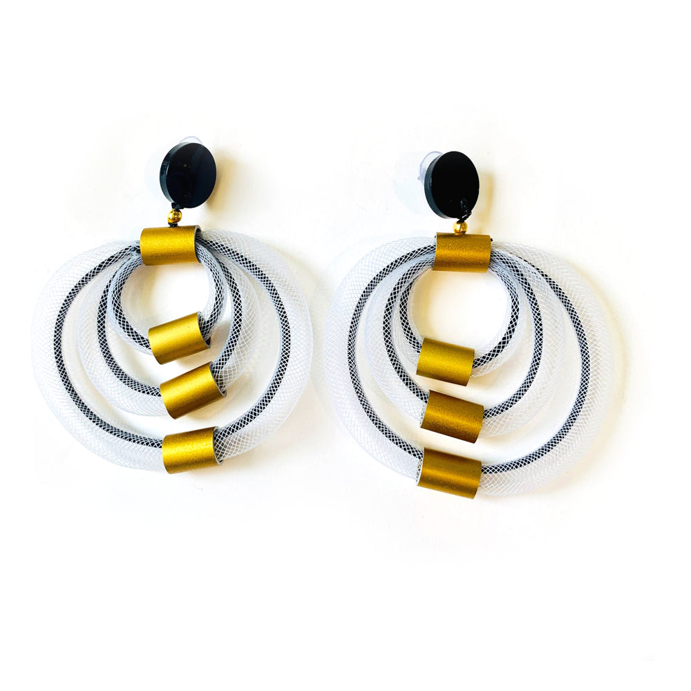 Christina Brampti cb167-white-mesh-black-gold-earrings