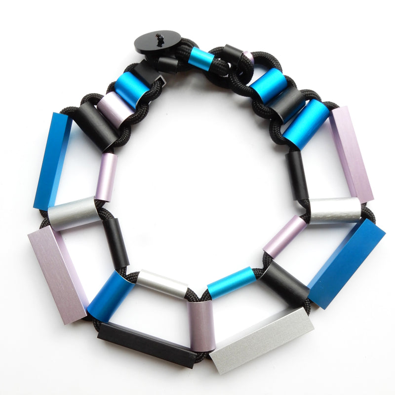 CB200 cylinders and rectangles short necklace - blue/pink