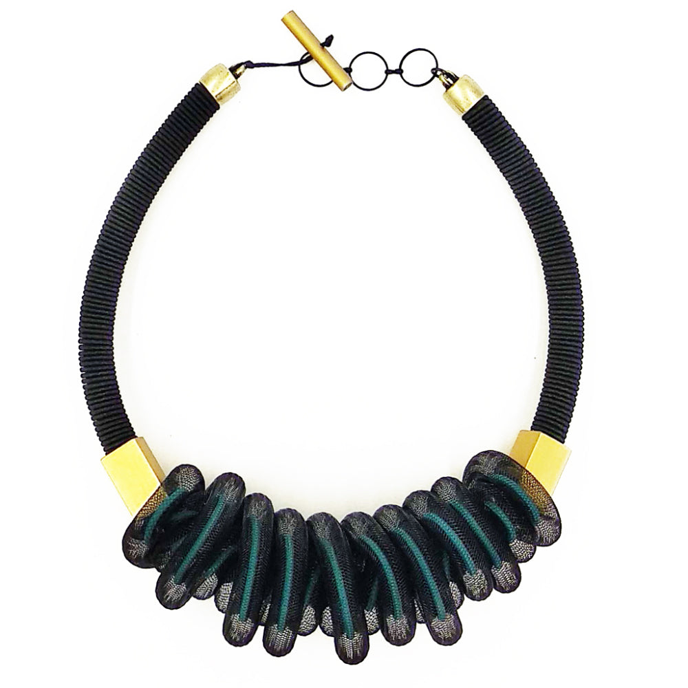 CB203 Mesh short necklace teal