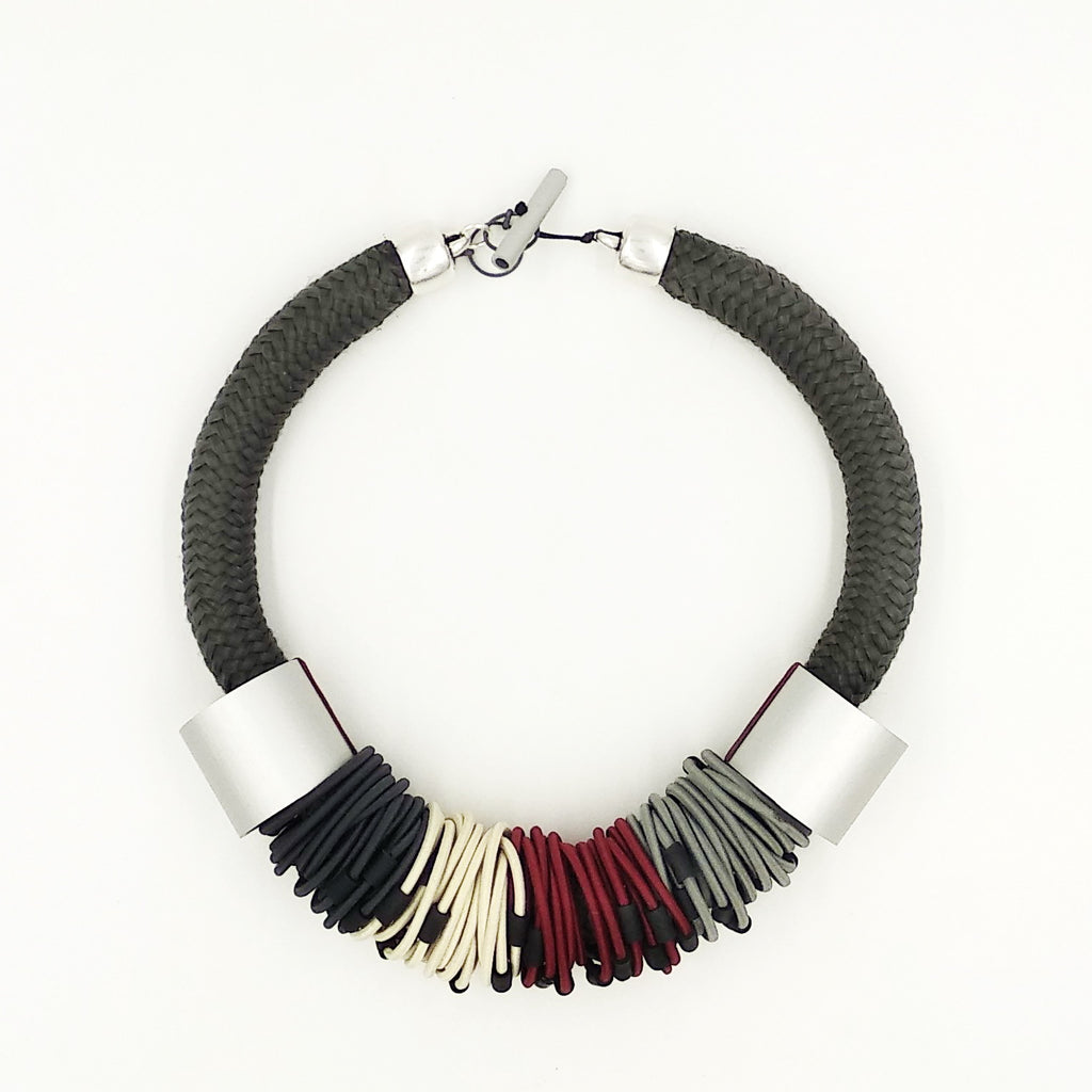 CB207 Multiloop Cord Necklace Red/Grey