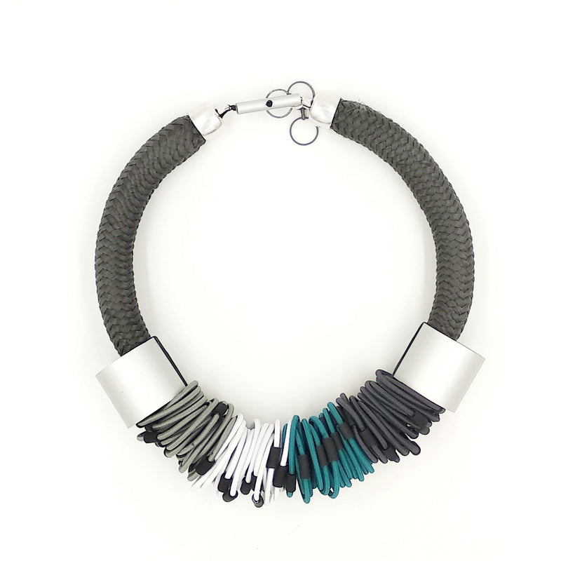 CB207 Multiloop Cord Necklace Turquoise/Grey