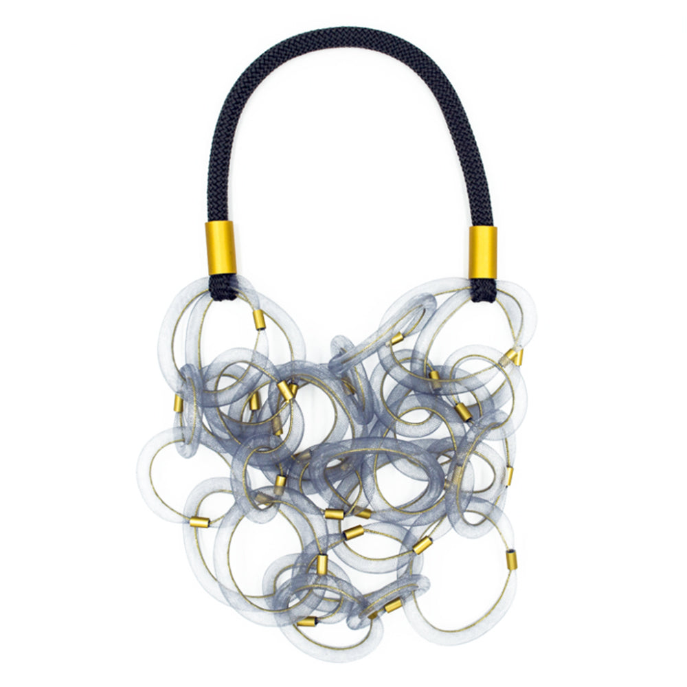 CB210 Multi Loop Long Necklace Grey/Gold Mix