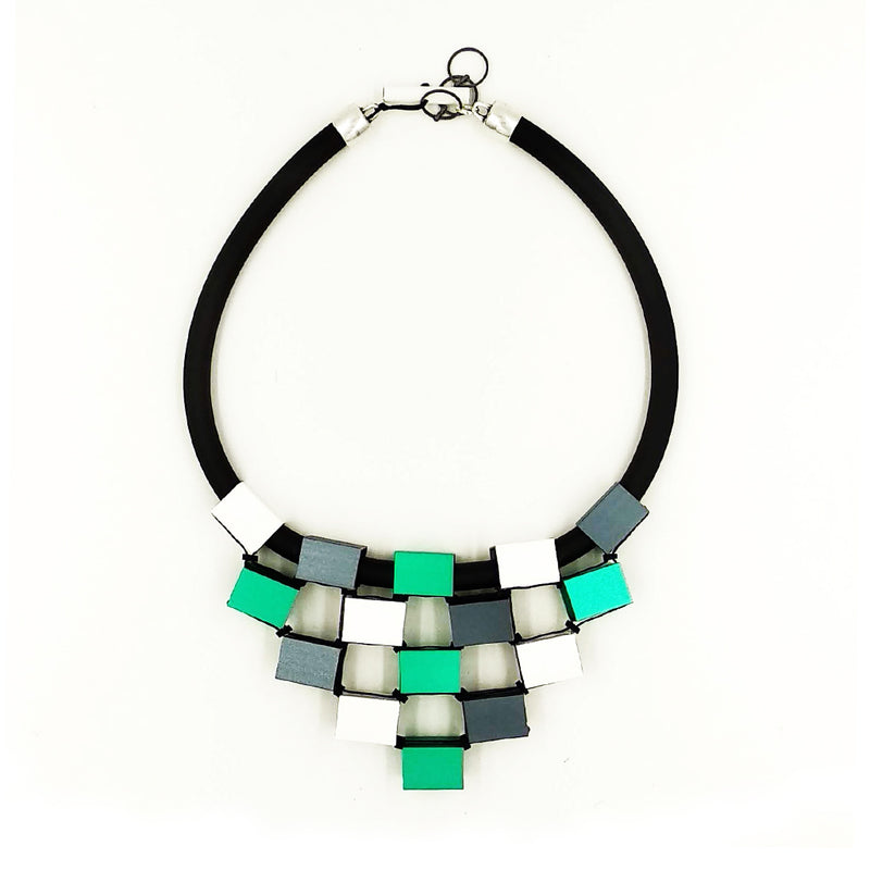 CB6 Rubber & Metal Necklace white, aqua, green, grey