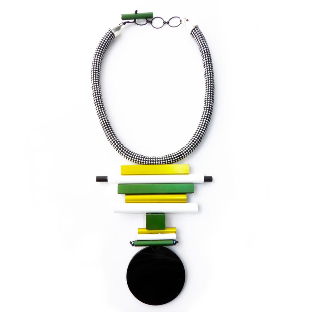 CB87 Neckpiece Lime Green Mix/Black Disc
