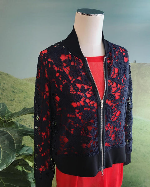 Tiffany Treloar Lace Cotton Bomber Jacket Nocturnal Styled