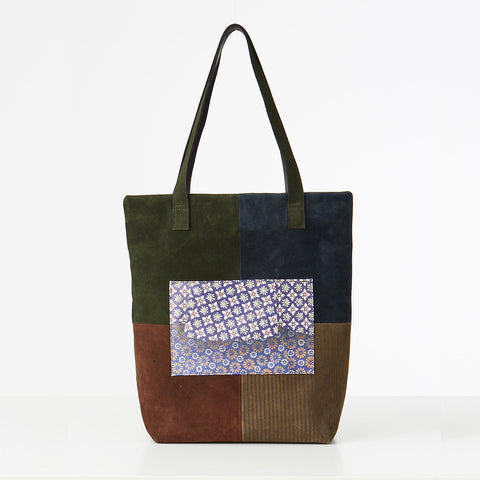 Leather Patch Tote Cut Through
