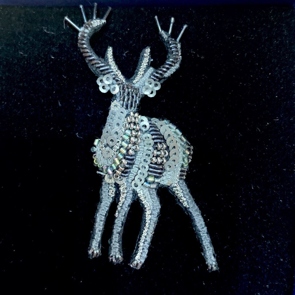 Grey Stag Brooch