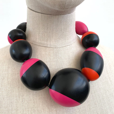 Monies Black and Coloured Rounded Necklace