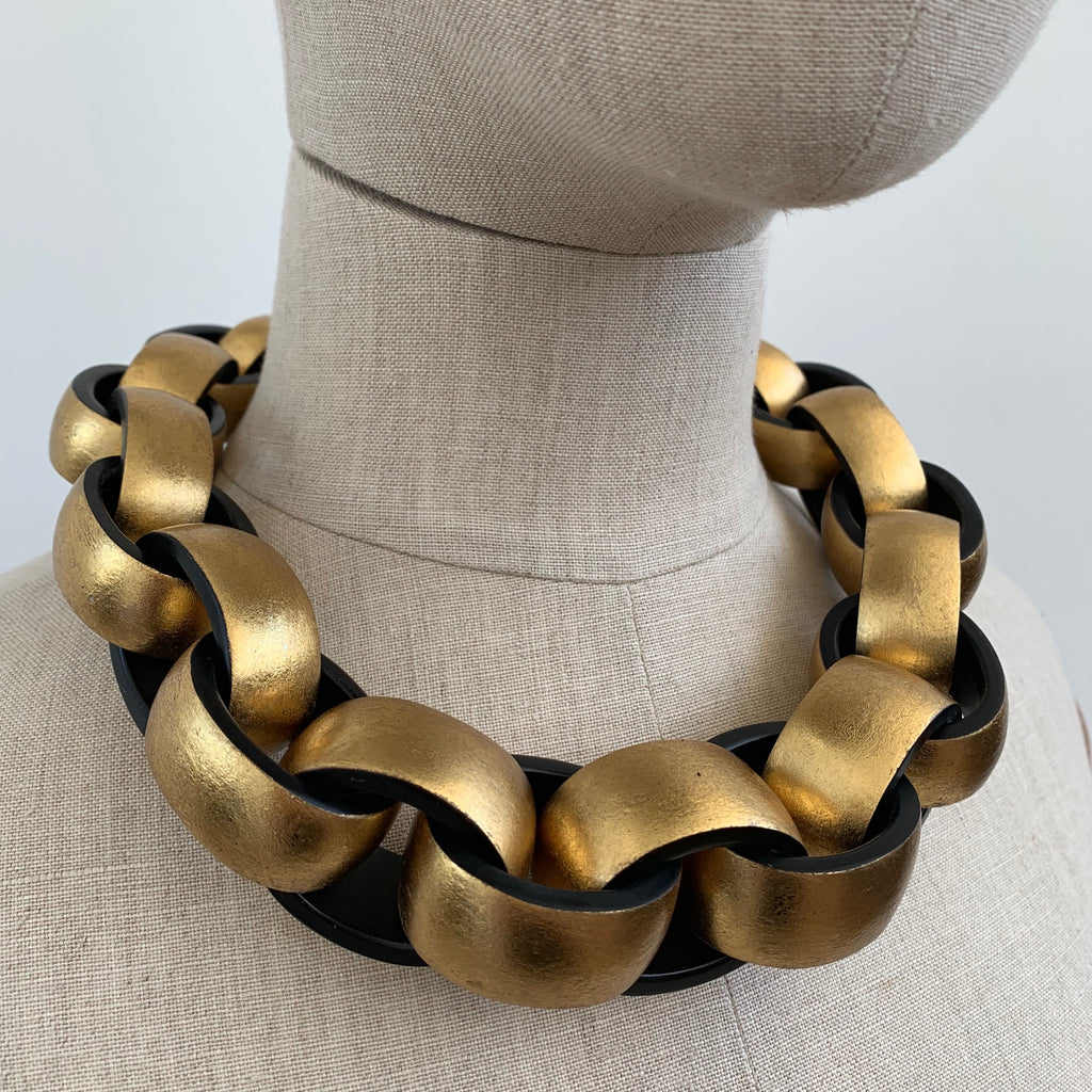AVA NECKLACE BLACK/GOLD