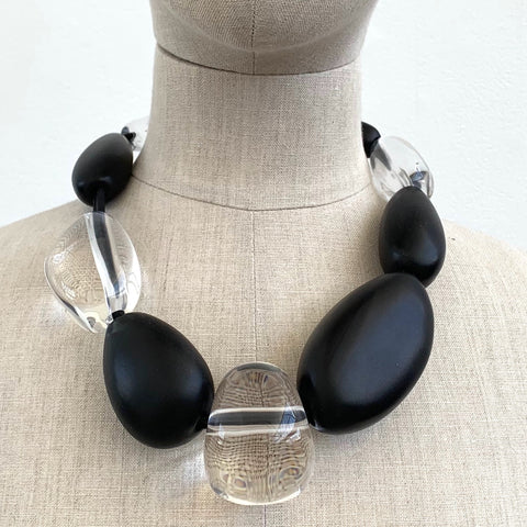 Monies Black and Clear Rounded Necklace