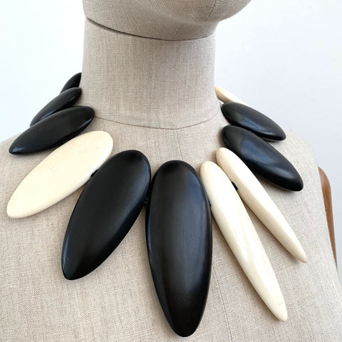 Monies Black and White Bone Necklace