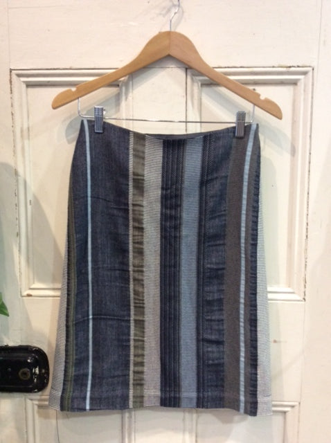 Japanese Cotton Stripe Skirt Navy/Khaki