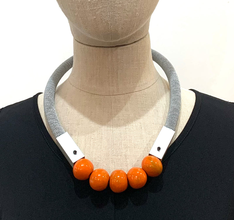 Christina Brampti, CB102 Silver Cord Orange (W) Ceramic Pearl Necklace - Tiffany Treloar