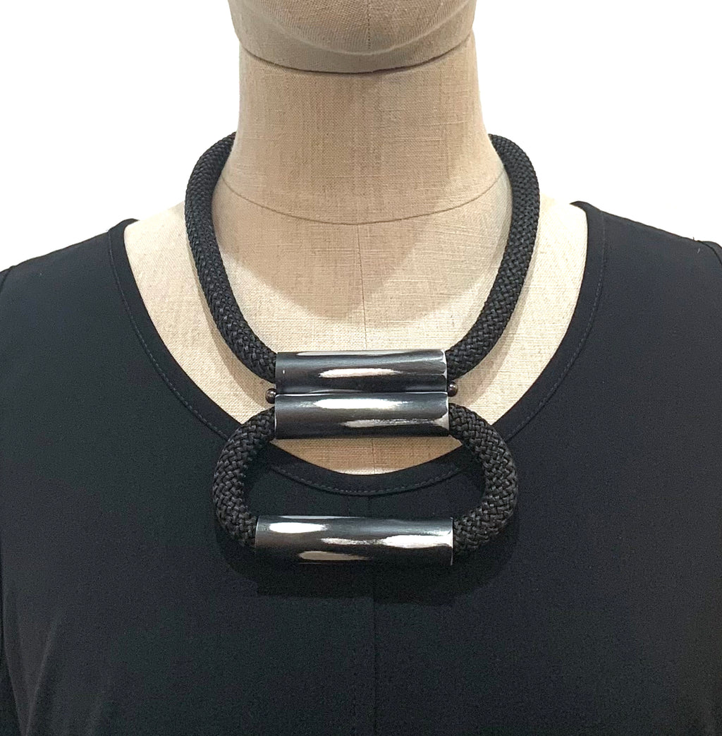Christina Brampti, CB226 Black Exposed (S) Double Loop Bar Necklace - Tiffany Treloar