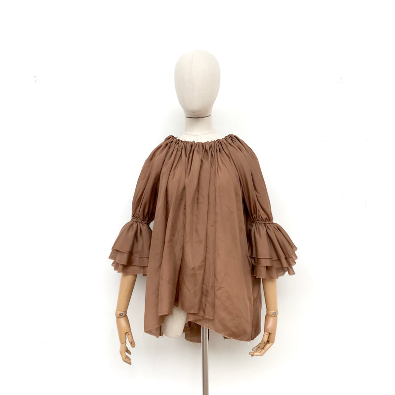 Amano Silk Button Back Blouse in Toffee