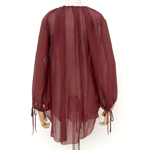 Amano Silk Flounce Blouse in Rust