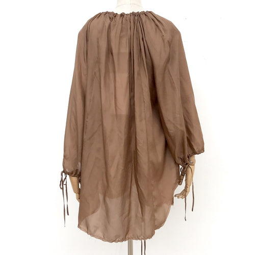 Amano Silk Flounce Blouse in Toffee