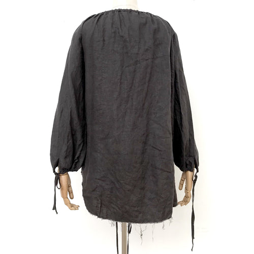 Amano Linen Flounce Blouse in Donkey