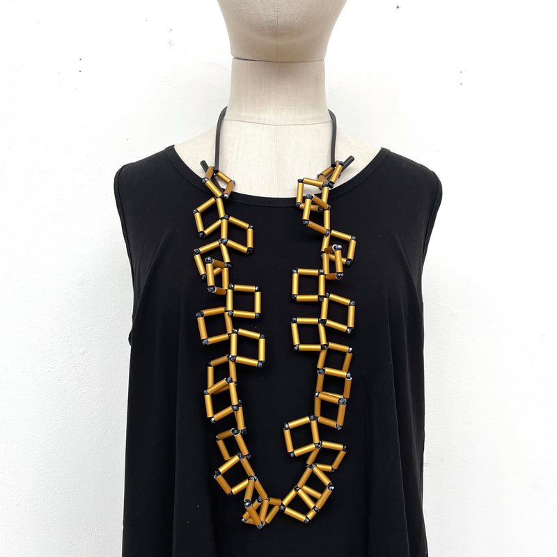 Christina Brampti, CB277 Gold Geometric Square Bead Necklace - Tiffany Treloar