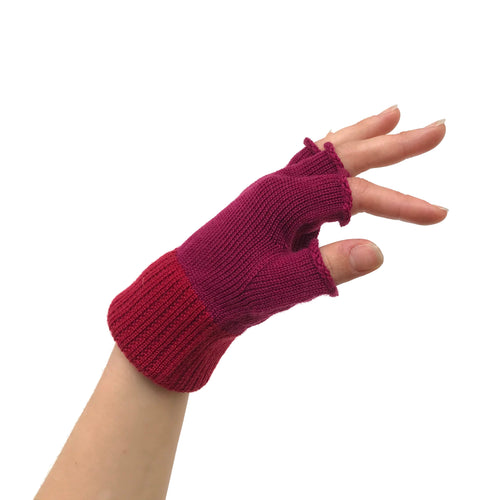 Tiffany Treloar, Fingerless Merino Gloves Magenta/Red - Tiffany Treloar