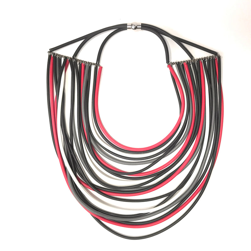 NEO, NEO 470 Mix Red Layered Statement Necklace - Tiffany Treloar