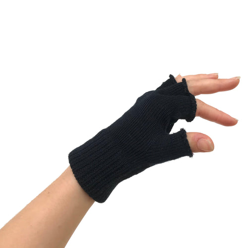 Tiffany Treloar, Fingerless Merino Gloves Black - Tiffany Treloar