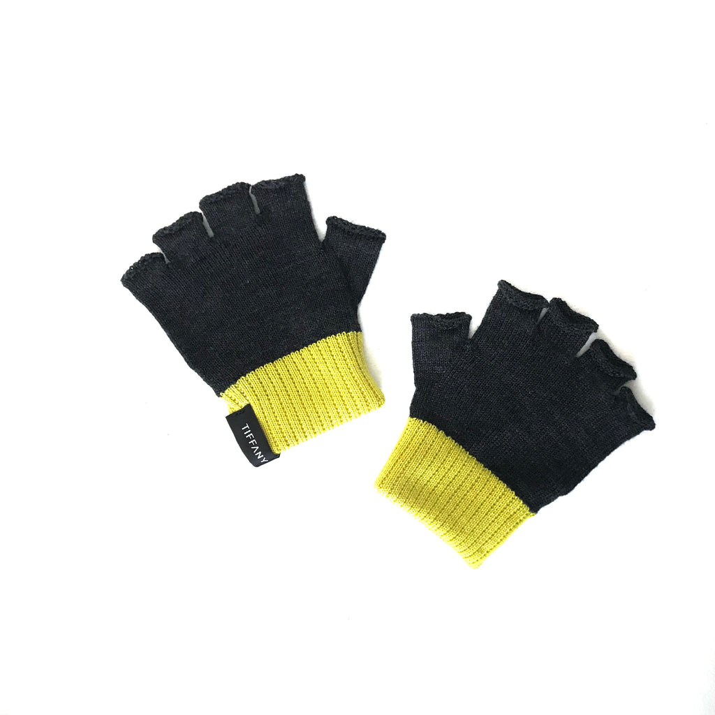 Tiffany Treloar, Fingerless Merino Gloves Charcoal/Acid Green - Tiffany Treloar